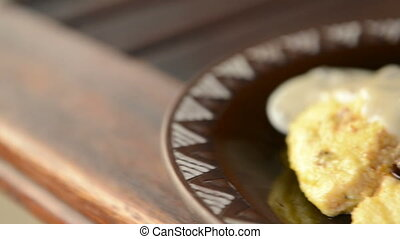 Beef Fillet on Polenta - Gourmet meal of beef fillet steak...