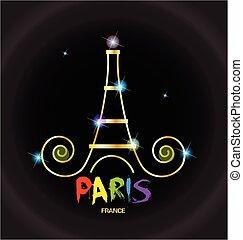 Paris-France tower logo - Eiffel Tower Paris-France vector...