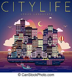 city life night scene - beautiful city life night scene in...