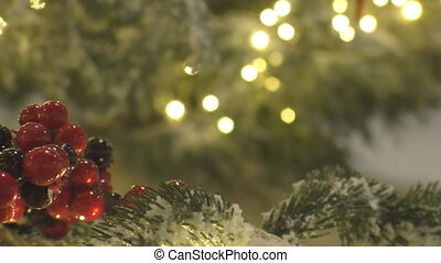 Red frosted berries christmas tree - Red berries and...