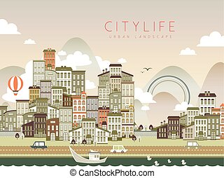 lovely city life scenery in flat design