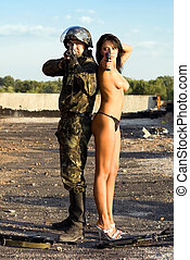 Soldier and woman