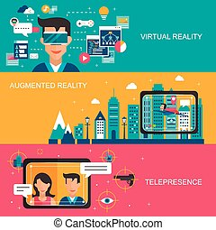 virtual reality concept banners set in flat design