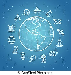 Space Icon Concept Vector - Space Icon Concept View of Earth...