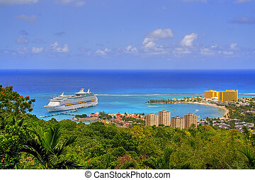 Jamaican view - View over Ocho Rios port town, Jamaica, with...