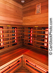 Wooden Sauna interior - the interior of a small wooden...