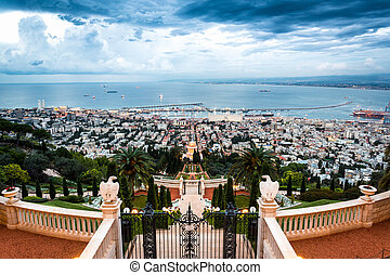 Panorama of Haifa - port and Bahai garden, Israel - Panorama...