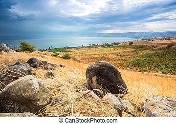 Galilee panorama taken from Mount of Beatitudes which is...