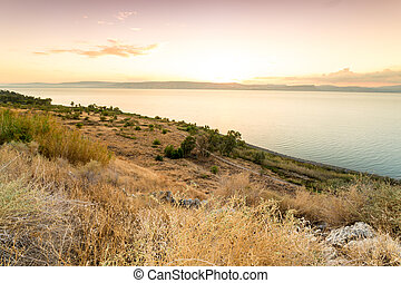 Panorama of east side of The Galilee Sea, Israel