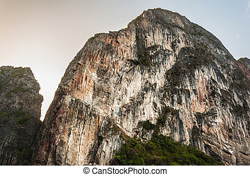 Bare mountain - majestic rock formation in phi phi island,...