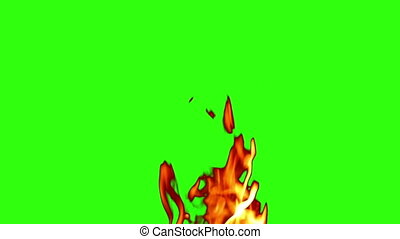 green screen, fire - flames and sparks on bottom in...