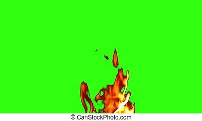 green screen, fire