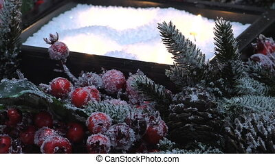 Christmas frosted berries,candles