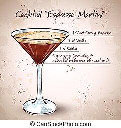 Cocktail Espresso Martini, consisting of vodka, coffee...