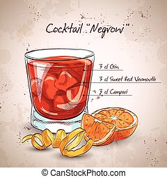 Negroni alcoholic cocktail, consisting of Gin, Campari, red...