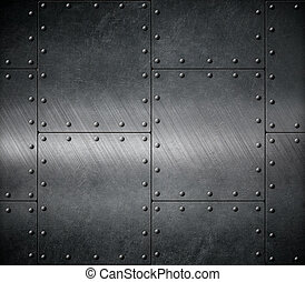 dark metal armour  - dark armour background with rivets