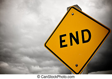 Dead End Sign - Dark and Cloudy Dead End Sign