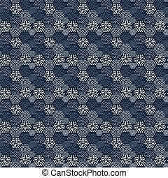 Seamless pattern geometric tiles polka dot abstract navy...