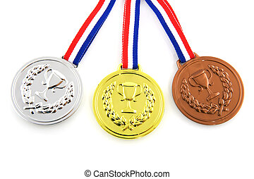 Medals - Golden silver and bronze medals isolated over white