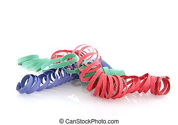 party streamers for carnival in colors isolated over white