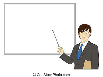 Smiling businessman holding a pointer stick - A smiling...