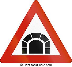 Norwegian road warning sign - Tunnel ahead
