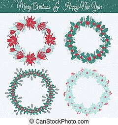 Christmas floral frames set