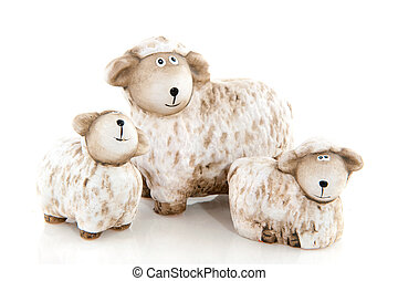 Sheep with lambs - White wool sheep with two little lambs in...