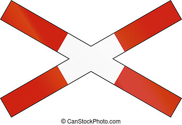 Norwegian road warning sign - Crossbuck for single track...