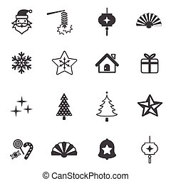 Christmas and New year icon set.