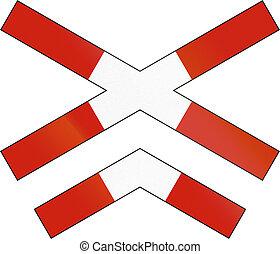 Norwegian road warning sign - Crossbuck for multi-track...