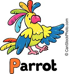 Funny parrot Alphabet P - Children vector illustration of...