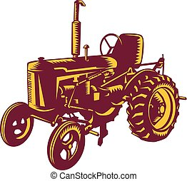 Vintage Farm Tractor Woodcut - Illustration of a vintage...
