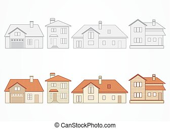 Set of suburban homes - Set of different suburban homes