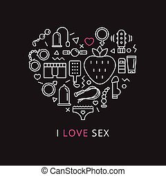 Vector sex shop icons in shape of heart. Trendy two color...