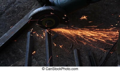 Disc Saw Cut The Steel - Cutting Iron Rod with a Blade in a...