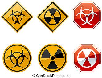 warning signs - set of six warning signs, biohazard and...