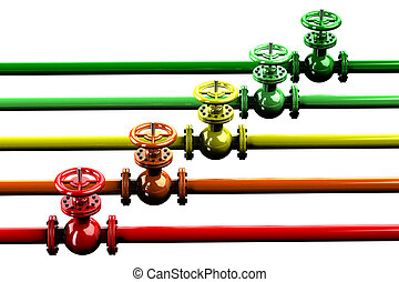 Pipelines with valves, isolated on white background 3D...