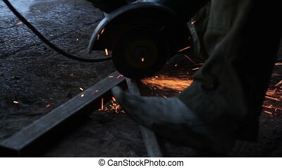 Sawing Metal - Cutting Iron Rod with a Blade in a metal...