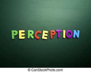 perception concept in colorful letters isolated on blank...