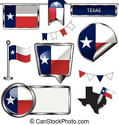 Glossy icons with flag of Texas - Vector glossy icons of...