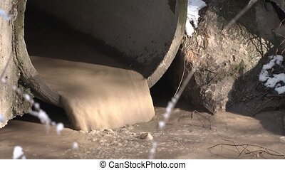 Flow Of Sewage Water Pouring From Big Pipe - CLOSE UP: Flow...