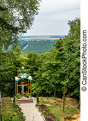 Chapel at the mountain of God Pochaiv summer
