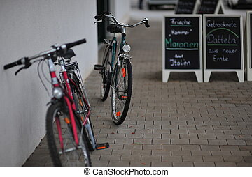 Delicatessen Bikes - Bicycles parked outside of a German...