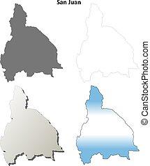 San Juan blank outline map set