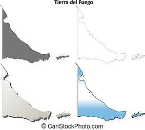 Tierra del Fuego blank outline map set - Tierra del Fuego...