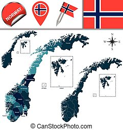 Map of Norway - Vector map of Norway with named divisions...