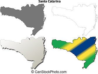 Santa Catarina blank outline map set - Santa Catarina...