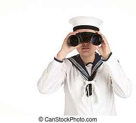joven, marinero, binoculares, aislado, blanco, Plano de...