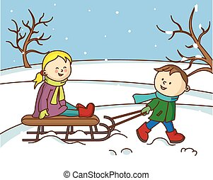 children playing with a sled in the
